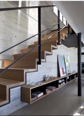 meuble salon intégré sous escalier